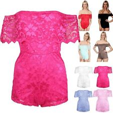 Ladies Scallop Frill Floral Lace Short Sleeves Womens Playsuit Romper Jumpsuit