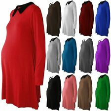 Womens Collared Peter Pan Maternity Long Sleeve Flared Jersey Skater Swing Dress