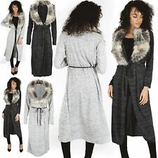 Womens Belted Cape Cardigan Ladies Faux Fur Long Sleeve Open Front Knit Duster