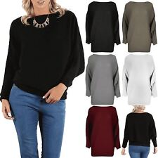 Womens Ladies Oversized Rib Knit Pullover Long Sleeves Batwing Cuffed Top Jumper