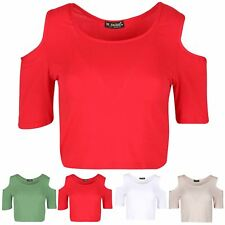 Ladies Womens Cold Cut Shoulder Short Sleeve Plain Round Sleeve Stretch Crop Top
