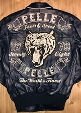 Pell Pelle Men's Leather Jacket Navy Plush Power and Speed Panther FurLogo Sizes