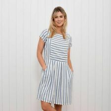 Brakeburn Woven Stripe Dress - Blue - Sizes 10 12 14 16 - BNWT