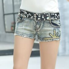 Hot Stamping Denim Shorts Summer Fashion Sexy Low Waist Womens Short Jeans