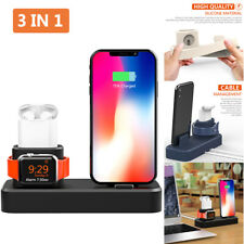 3in1 Charging Stand Station Silicone Holder Dock For iPhone/Apple Watch/Airpods