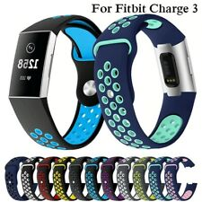UK Watch Band For Fitbit Charge 3 Outdoor Sport Soft Silicone Replacement