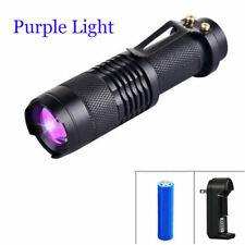 Ultraviolet Purple 395nm 3 Modes LED UV Flashlight Zoomable 14500 Light Torch