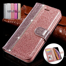 For iPhone XS Max Case X XR 8 7 Glitter Magnetic Leather Card Wallet Stand Cover
