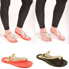 9afff938e78c Ladies Womens Flip Flops Diamante Toe Post Jelly Sandal Holiday Jellies  Shoes