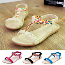 Women Ladies Bohemian Flat Casual Flats Open Toe Beach Sandals Summer Shoes