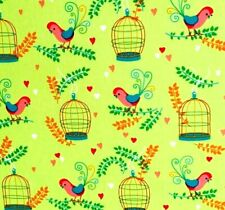 Bird Cage Cotton Fabric Green Craft Quilting Upholstery Fabric Fat Quarter