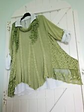 FINE KNIT TUNIC 3 PIECE COTTON LACE SEQUINS 3/4 SLEEVE BNWT LAGENLOOK ETHNIC
