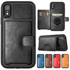 For iPhone XS Max XR X Case 8 Plus 7+ Magnetic Leather Card Holder Stand Cover