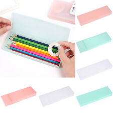 Plastic Frosted Pen Pencil Box Kids Stationery Container Storage Case Organizer