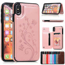 For iPhone 8 Plus Case XS Max XR 7 6s X Leather Card Slot Shockproof Armor Cover