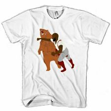 MAN PUNCHING BEAR MAN / WOMAN T-SHIRT USA SIZE EM1