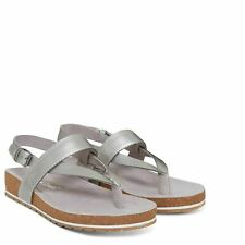 Timberland A1SQR Malibu Waves Womens Leather Flat Sandals Silver Metallic Size