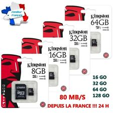 Carte Mémoire Micro Kingston 80 MB/S  128 64 32 16 GO Classe 10 + Adaptateur Fre