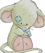 14ct cross stitch kit - cute teddy mouse  - 16x17cm printed or counted kit