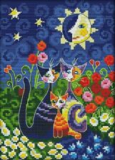 14ct cross stitch kit - Modern cat family and flowers design - 19x28cm