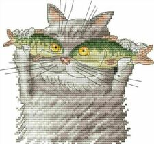 14ct cross stitch kit - I love fish funny cartoon cat - 21x20cm printed or count