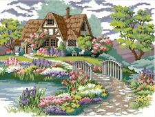 14ct cross stitch kit - Floral cottage with stream - 43x34cm printed or counted
