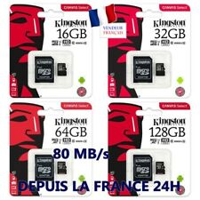 Carte Mémoire Micro Kingston 80 MB/S  128 64 32 16 GO Classe 10 + Adaptateur@@@