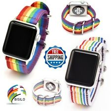 Nylon Watch Band For Apple Watch 38mm 42mm 40mm 44mm Rainbow Striped Series 1-4