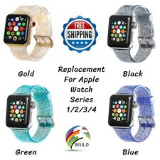 38mm/42mm/44mm Glitter Silicone Wrist Band Strap For Apple Watch Series 1/2/3/4