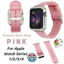 PINK Woven Nylon Strap Loop Band 38/42/40/44mm For Apple Watch Series 4 3 2 1