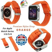 Orange Woven Nylon Strap Loop Band 38/42/40/44mm For Apple Watch Series 4 3 2 1