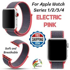 38/42/40/44mm Nylon Sport Loop Pink Strap Band For Apple Watch Series 4 3 2 1