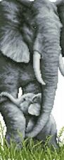14ct cross stitch kit - Elephant and Calf - 20x44cm printed or counted kits