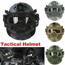Tactical Airsoft Paintball Fast Helmet Full Face Mask Goggles & G4 System Games