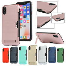 For iPhone XS Max Case XR X 8 7 6 Brushed Hybrid Card Slot Hard Back Stand Cover