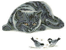 14ct cross stitch kit - curious black cat birds -22x35cm printed or counted kit