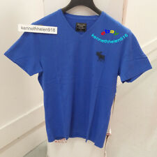 ABERCROMBIE & FITCH MENS SHORT SLEEVE EXPLODED ICON V-NECK TEE BLUE SIZE MEDIUM