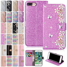 For iPhone 8 Plus Case X XS Max XR 6 7+ Diamond Leather Card Holder Magnet Cover