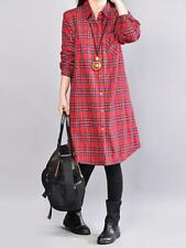 Women Long Sleeve Plaid Turn-Down Collar Casual Shirt Dress