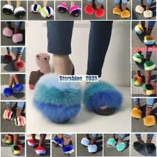Real Fox Fur Slides Fluffy Fuzzy Furry Slippers Sliders Sandals Women Shoes New