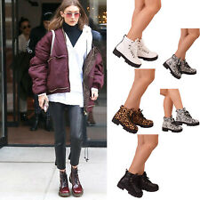Ladies Womens Chunky Platform Lace Up Ankle Boots Combat Doc Shoes Goth Army New