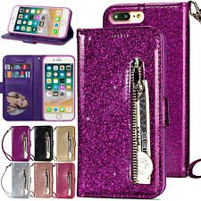 For iPhone XS Max XR 8 7 6 Plus Case Bling Zipper Leather Wallet Magnetic Cover