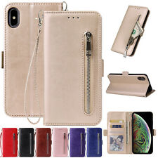 For iPhone 11 Pro Max Case XR XS Max 8 Zipper Magnet Leather Wallet Stand Cover