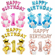 First 1st Birthday Number 1 Boy Girl Filled Balloons Baby Party Decor Baloons