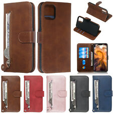 For iPhone 11 Pro Max 7 Plus 6 8 XS Max XR Zipper Leather Card Wallet Case Cover