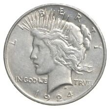 Choice AU/UNC 1924 Peace Silver Dollar - 90% Silver *368