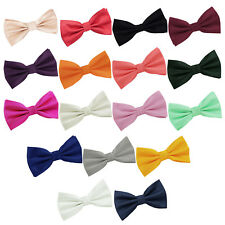 Mens Boys Bow Tie Plain Solid Check Formal Pre-Tied FREE Pocket Square by DQT