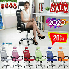 Adjustable Mesh Chair Executive Swivel Computer Desk High Back with Head Rest UK