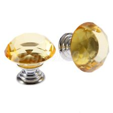 Diamond Shaped Yellow Knobs 30mm Crystal Glass Door Handle Drawer Cabinet Pull