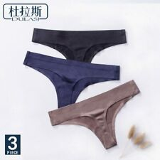 3pcs,Ice Silk Thong Panties Sexy Briefs Seamless Thongs Women Underwear Panties